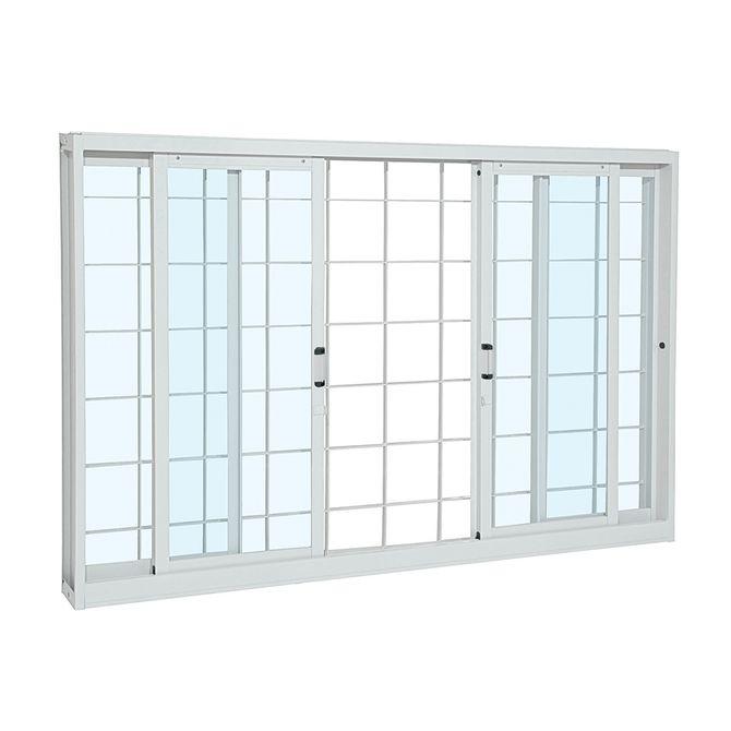Janela-de-Aco-de-Correr-Pratika-sem-Divisao-Branca-com-Grade-Quadriculada-4-folhas-100x120x12---Sasazaki