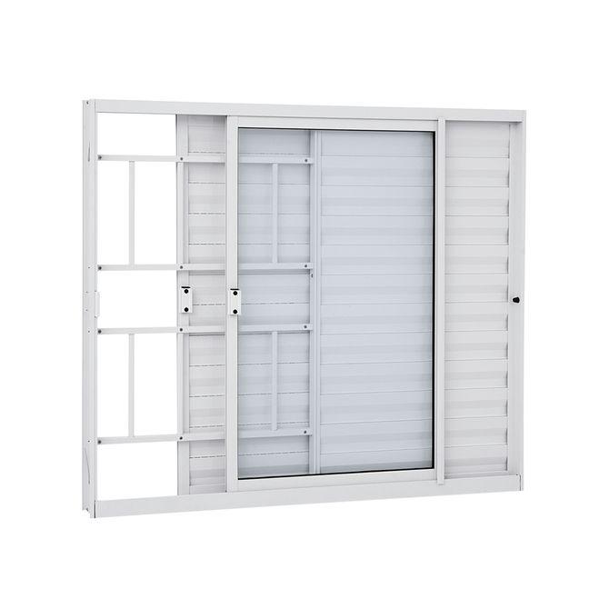 Janela-de-Aluminio-Veneziana-de-Correr-Alumifit-Branca-com-Grade-Classic-3-Folhas-Abertura-Direita-100x120x76---Sasazaki