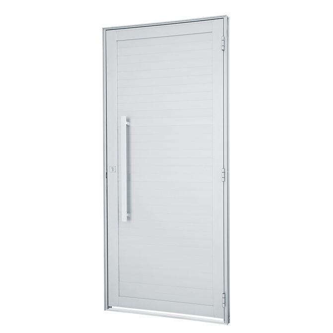 Porta-de-Aluminio-de-Abrir-Alumifort-Branca-com-Lambri-Horizontal-com-Puxador-1-Folha-Abertura-Esquerda-216x88x54---Sasazaki