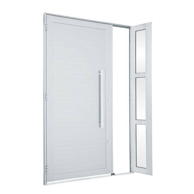 Porta-de-Aluminio-de-Abrir-Alumifort-Branca-com-Lambri-Horizontal-com-Seteira-com-Puxador-1-Folha-Abertura-Direita-216x120x54---Sasazaki