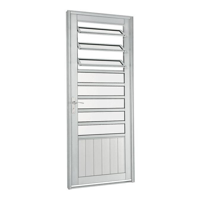 Porta-de-Aluminio-de-Abrir-Aluminium-Natural-com-Almofada-com-Bascula-Abertura-Direita-1-Folha-217x88x8---Sasazaki