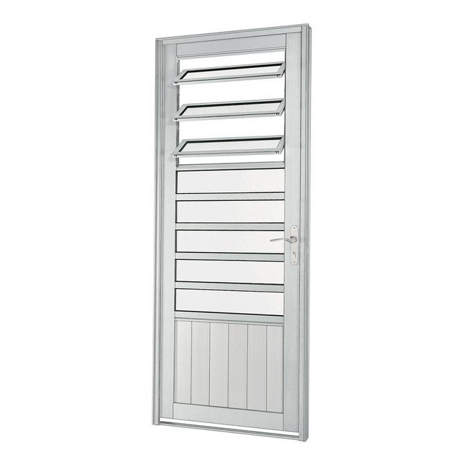 Porta-de-Aluminio-de-Abrir-Aluminium-Natural-com-Almofada-com-Bascula-Abertura-Esquerda-1-Folha-217x88x8---Sasazaki