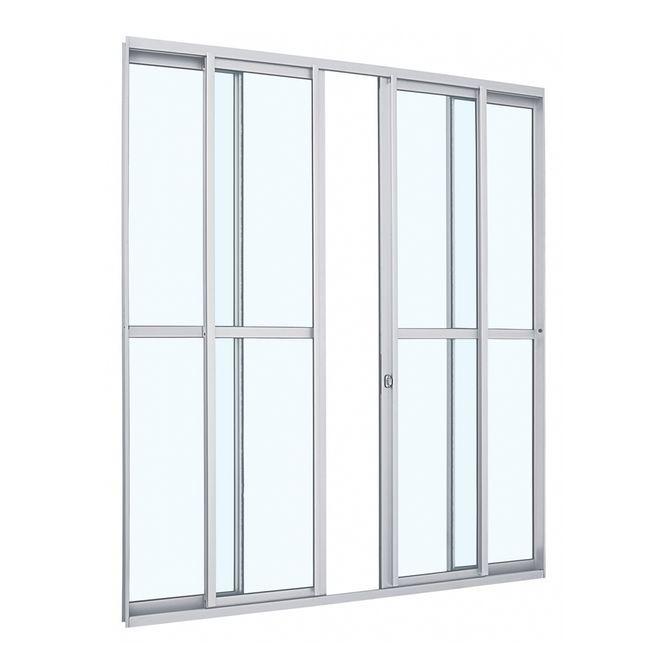 Porta-de-Aluminio-de-Correr-Alumifit-Branca-com-Divisao-Central-4-Folhas-216x200x7---Sasazaki