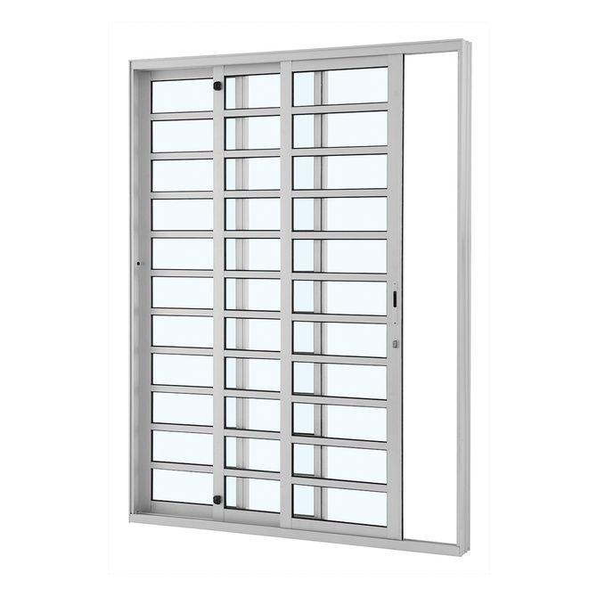 Porta-de-Aluminio-de-Correr-Alumifort-Branca-com-Divisao-3-Folhas-Abertura-Esquerda-216x160x12---Sasazaki