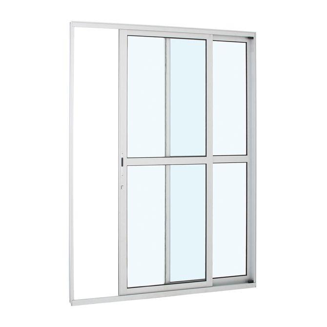 Porta-de-Aluminio-de-Correr-Alumifort-Branca-com-Divisao-Central-2-Folhas-Abertura-Direita-216x160x87---Sasazaki