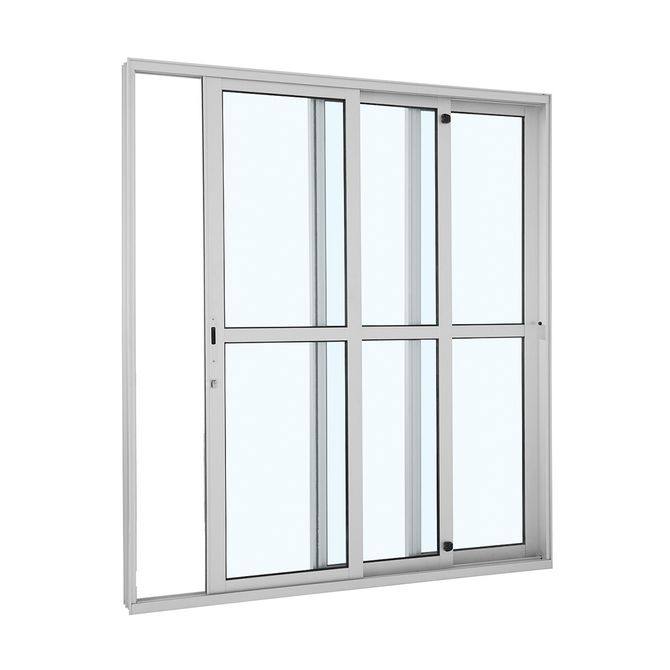Porta-de-Aluminio-de-Correr-Alumifort-Branca-com-Divisao-Central-3-Folhas-Abertura-Direita-216x200x125---Sasazaki