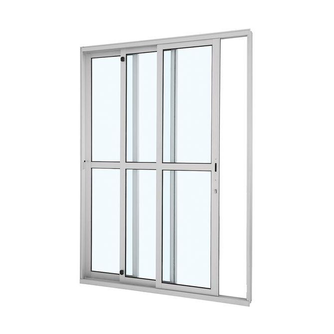 Porta-de-Aluminio-de-Correr-Alumifort-Branca-com-Divisao-Central-3-Folhas-Abertura-Esquerda-216x160x125---Sasazaki