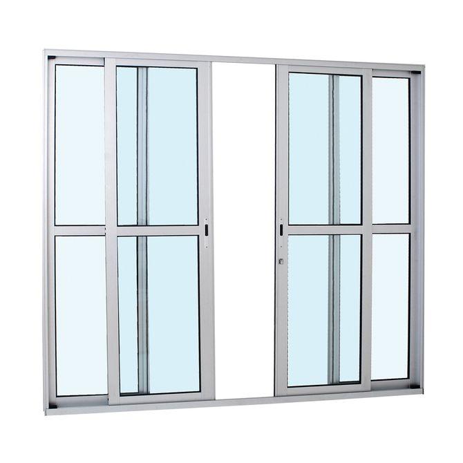 Porta-de-Aluminio-de-Correr-Alumifort-Natural-com-Divisao-Central-4-Folhas-216x250x87---Sasazaki