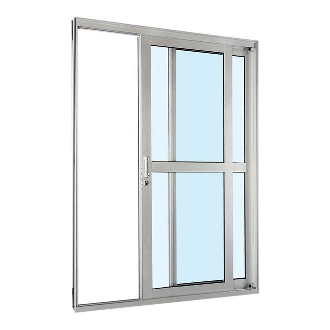 Porta-de-Aluminio-de-Correr-Aluminium-Natural-com-Divisao-Central-2-Folhas-Abertura-Direita-217x160x12---Sasazaki