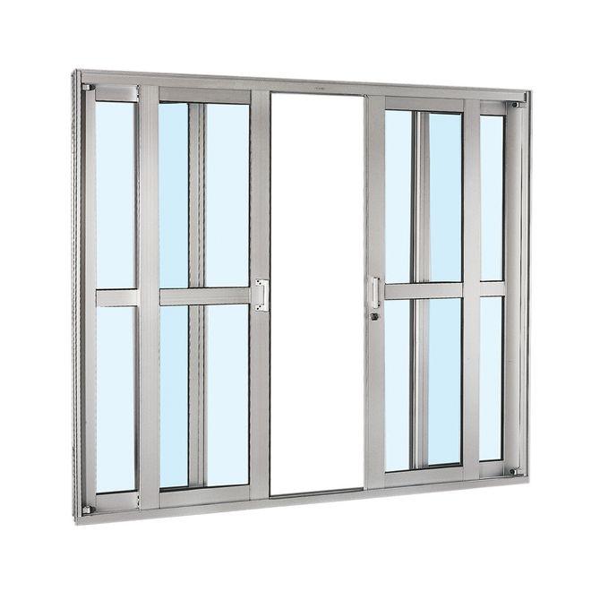 Porta-de-Aluminio-de-Correr-Aluminium-Natural-com-Divisao-Central-4-Folhas-217x250x12---Sasazaki