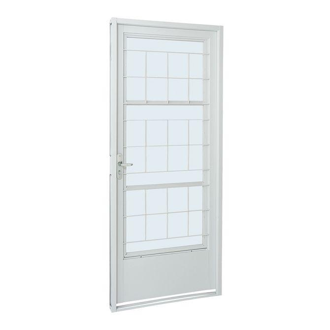 Porta-Social-de-Aco-de-Abrir-Pratika-Branca-com-Postigo-Grade-Quadriculada-1-Folha-Abertura-Direita-217x87x8---Sasazaki