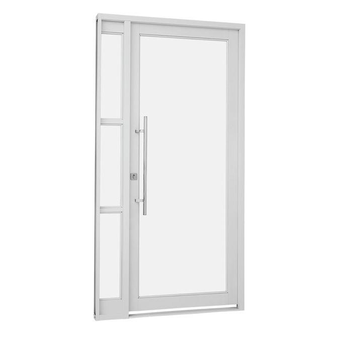Porta-Social-de-Aco-de-Abrir-Pratika-Branca-com-Seteira-Simples-e-Vidro-Temperado-1-Folha-Abertura-Direita-217x119x8---Sasazaki