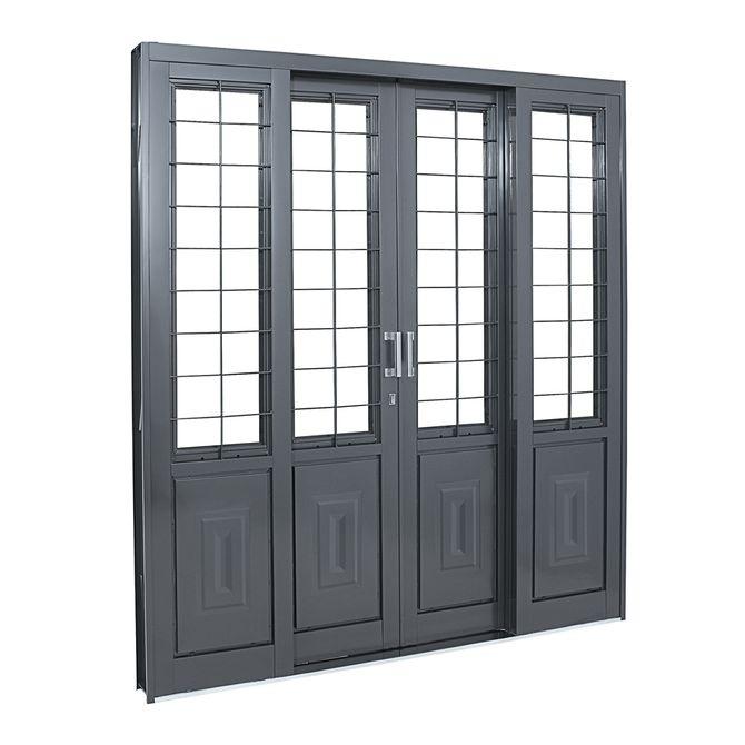 Porta-Social-de-Aco-de-Correr-Silenfort-com-Almofada-com-Postigo-com-Grade-Quadriculada-4-Folhas-217x200x14---Sasazaki