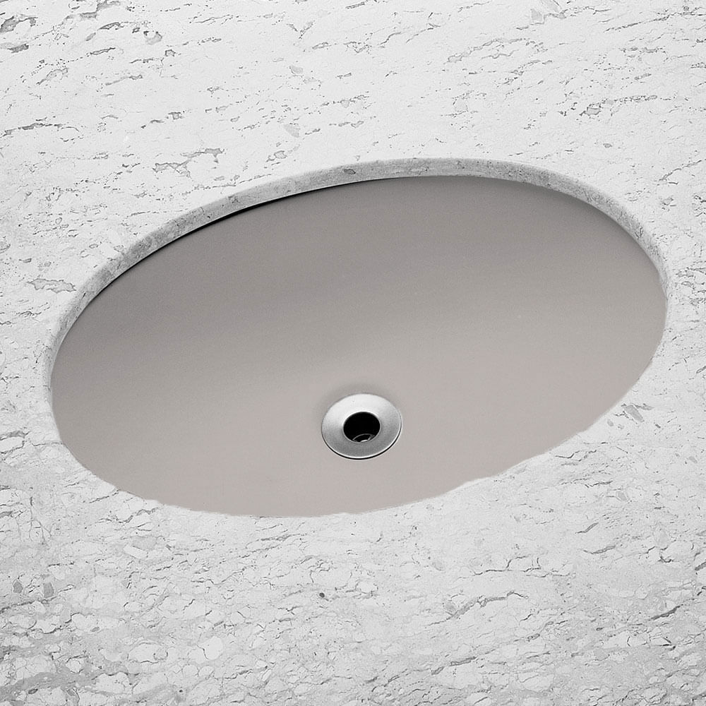 Cuba de Embutir Oval Cinza Platina 32,5x49cm  Incepa  padovani -> Cuba Para Banheiro Oval De Embutir