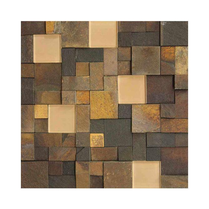 Placa-Natural-Stone-em--Pedra-Basalto-Ferrugem-e-Vidro-Bege-NS-100---Inova-Design
