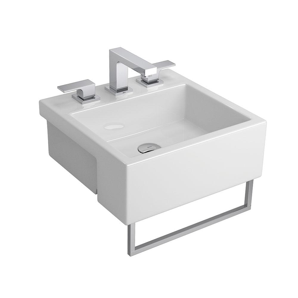 Cuba de Semi Encaixe Quadrada Branca com Porta Toalha 42x42cm L83C  Deca  p -> Cuba Para Banheiro De Semi Encaixe Branca Icasa