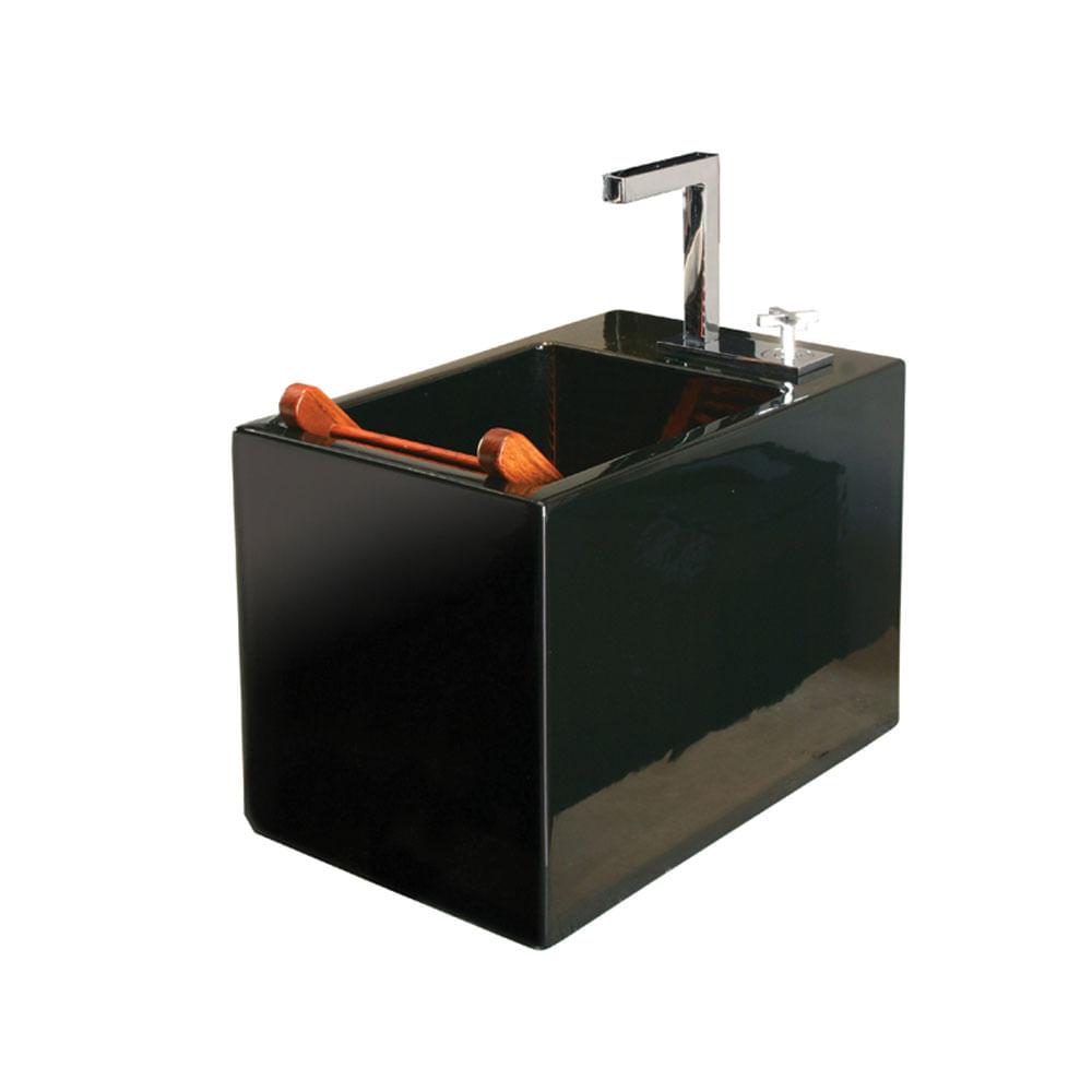 Cuba Suspensa Multiuso Ébano com Esfregador em Madeira 34,5L 35,5×56,5cm L116 -> Cuba Para Banheiro Suspensa Retangular Multiuso Gelo Deca