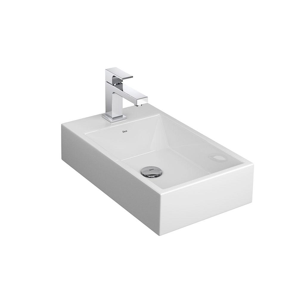 Cuba de Apoio Retangular Branca com Mesa 31x51cm L102  Deca  padovani -> Cuba Para Banheiro Deca Creme