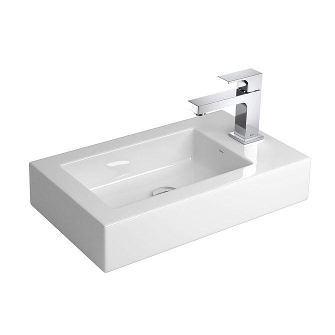 Cuba de Apoio Retangular Branca com Mesa 31x51cm L102  Deca  padovani -> Cuba Para Banheiro Retangular
