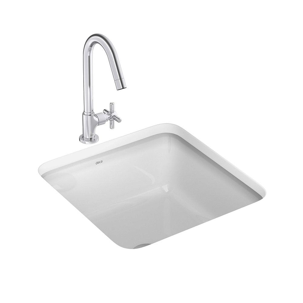 Cuba de Embutir Quadrada Branca 31,5cm L1030  Deca  padovani -> Cuba Para Banheiro Quadrada De Embutir