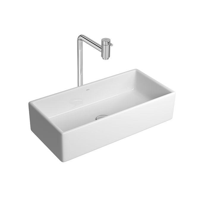 Cuba de Apoio Retangular Branca com Mesa 30x50cm L195  Deca  padovani -> Cuba Para Banheiro Suspensa Retangular Multiuso Gelo Deca