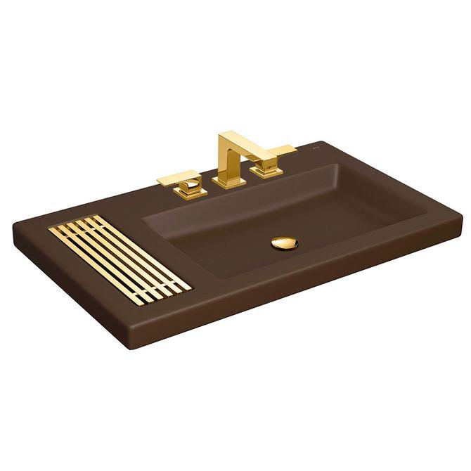 Cuba-de-Sobrepor-Retangular-Marrom-Fosco-com-Mesa-80x475cm-e-Grelha-Gold-L1044.GL.22---Deca1