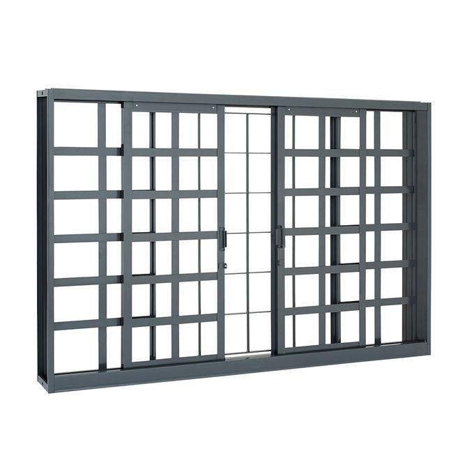 Janela-de-Aco-de-Correr-Belfort-Quadriculada-sem-Bandeira-com-Grade-Quadriculada-4-Folhas-100x150x8---Sasazaki