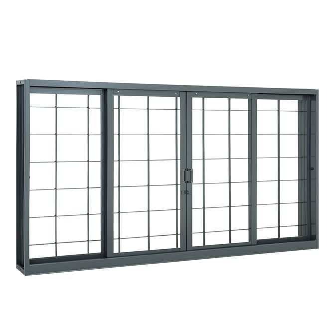 Janela-de-Aco-de-Correr-Belfort-sem-Bandeira-sem-Divisao-com-Grade-Quadriculada-4-Folhas-100x200x14---Sasazaki