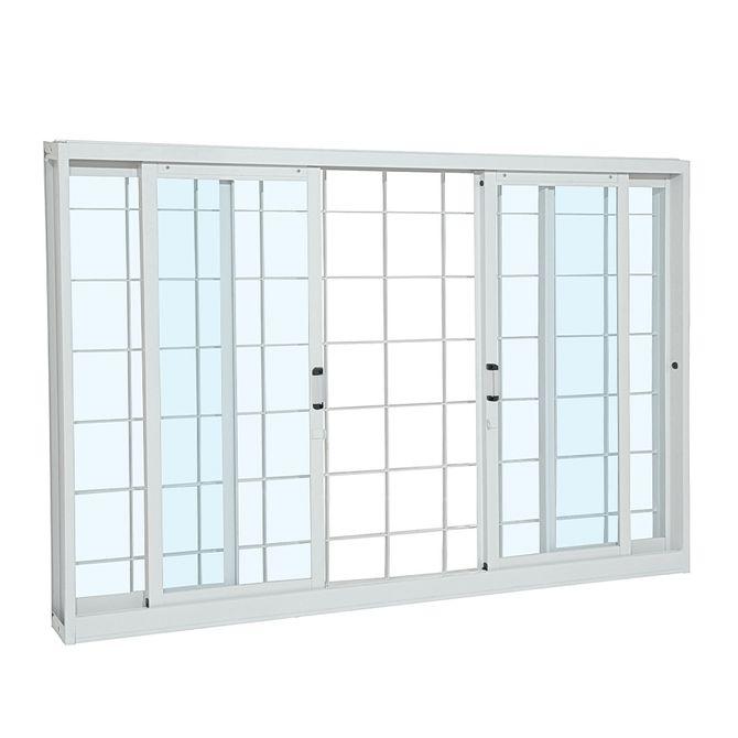 Janela-de-Aco-de-Correr-Pratika-sem-Divisao-Branca-com-Grade-Quadriculada-4-folhas-120x150x12---Sasazaki