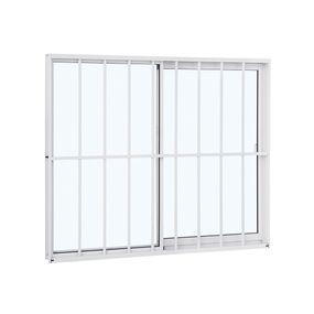 Janela-de-Aluminio-de-Correr-Alumifit-Branca-com-Grade-Classic-2-Folhas-Abertura-Direita-100x120x48---Sasazaki