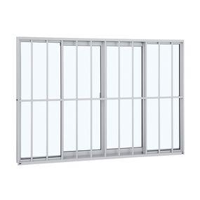 Janela-de-Aluminio-de-Correr-Alumifit-Branca-com-Grade-Classic-4-Folhas-100x150x66---Sasazaki
