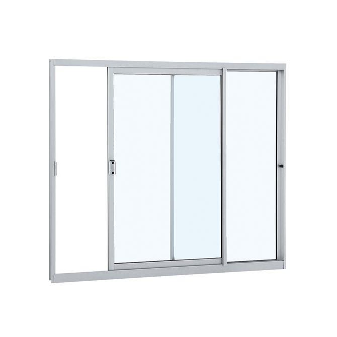 Janela-de-Aluminio-de-Correr-Alumifit-Branca-sem-Grade-2-Folhas-Abertura-Direita-100x120x48---Sasazaki