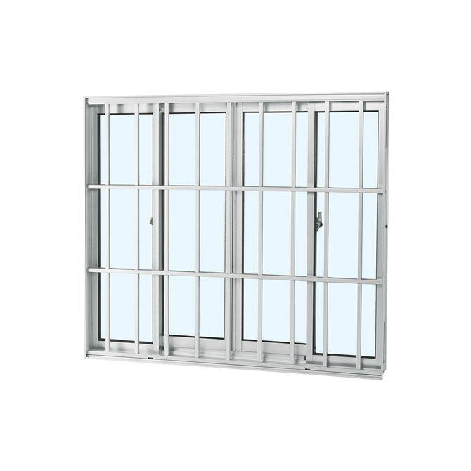 Janela-de-Aluminio-de-Correr-Alumifort-Branca-sem-Bandeira-sem-Divisao-com-Grade-Classic-4-Folhas-100x120x64---Sasazaki
