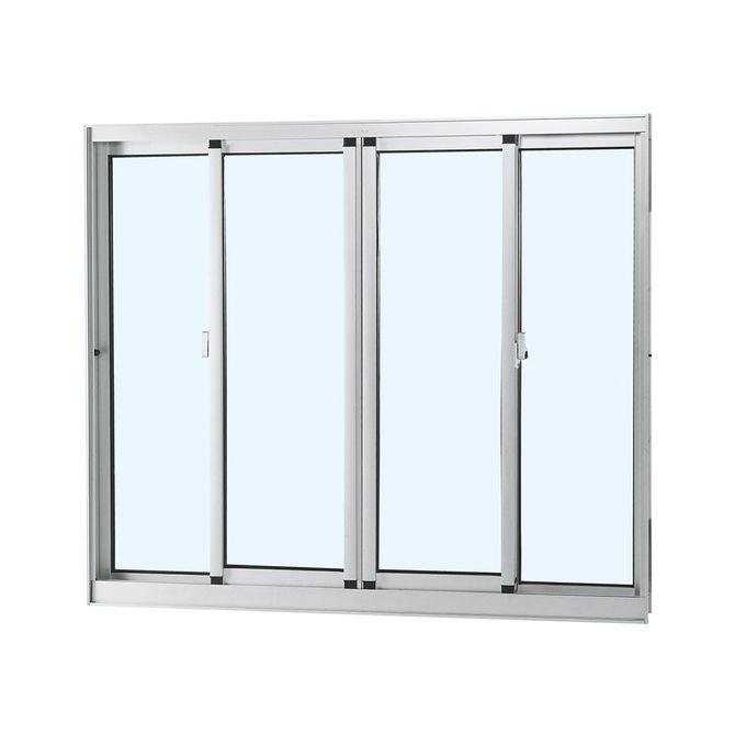Janela-de-Aluminio-de-Correr-Alumifort-Branca-sem-Bandeira-sem-Divisao-sem-Grade-4-Folhas-100x120x64---Sasazaki
