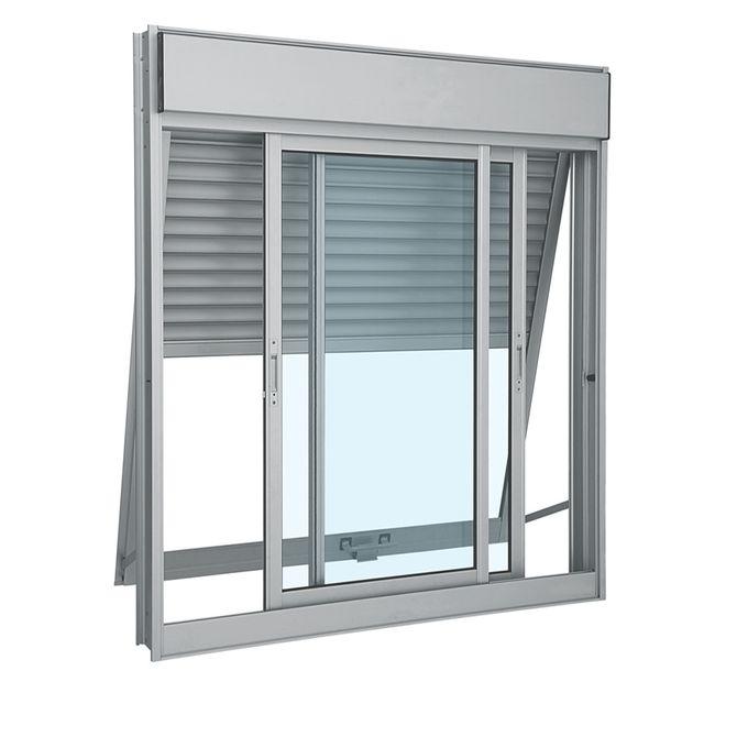 Janela-de-Aluminio-de-Correr-Aluminium-Branca-Integrada-com-Veneziana-Projetante-3-Folhas-140x120x14---Sasazaki