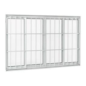 Janela-de-Aluminio-de-Correr-Aluminium-Branca-sem-Bandeira-sem-Divisao-com-Grade-Classic-4-Folhas-120x150x9---Sasazaki