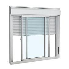 Janela-de-Aluminio-de-Correr-Veneziana-Alumifort-Branca-Integrada-3-Folhas-140x150x118---Sasazaki