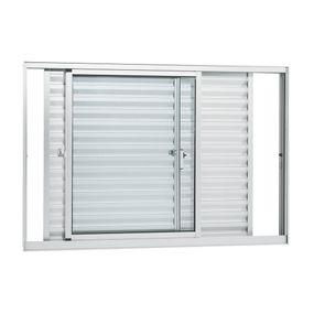 Janela-de-Aluminio-de-Correr-Veneziana-Alumifort-Branca-sem-Grade-3-Folhas-Moveis-100x150x87---Sasazaki