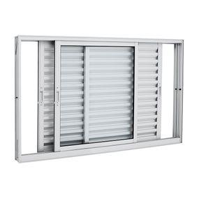 Janela-de-Aluminio-de-Correr-Veneziana-Aluminium-Branca-sem-Grade-3-Folhas-Moveis-100x150x12---Sasazaki