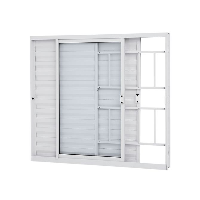 Janela-de-Aluminio-Veneziana-de-Correr-Alumifit-Branca-com-Grade-Classic-3-Folhas-Abertura-Esquerda-100x120x76---Sasazaki