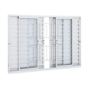 Janela-de-Aluminio-Veneziana-de-Correr-Alumifit-Branca-com-Grade-Classic-6-Folhas-100x150x76---Sasazaki