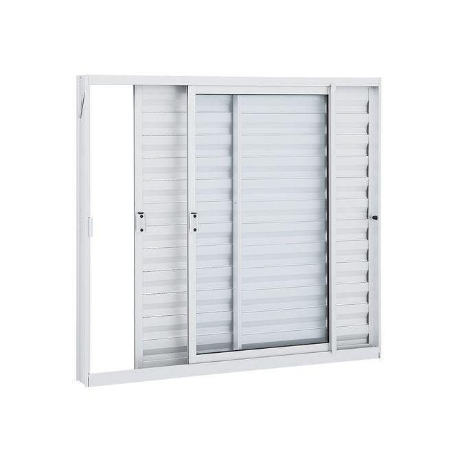 Janela-de-Aluminio-Veneziana-de-Correr-Alumifit-Branca-sem-Grade-3-Folhas-Abertura-Direita-100x120x76---Sasazaki