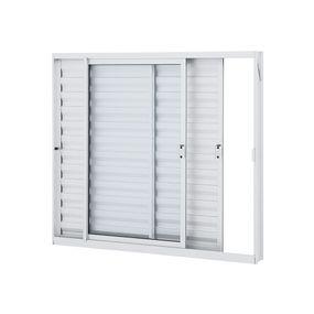 Janela-de-Aluminio-Veneziana-de-Correr-Alumifit-Branca-sem-Grade-3-Folhas-Abertura-Esquerda-100x120x76---Sasazaki