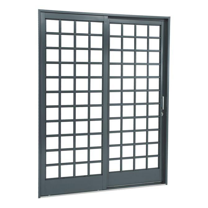 Porta-de-Aco-de-Correr-Belfort-Quadriculada-2-Folhas-Abertura-Esquerda-217x160x12---Sasazaki