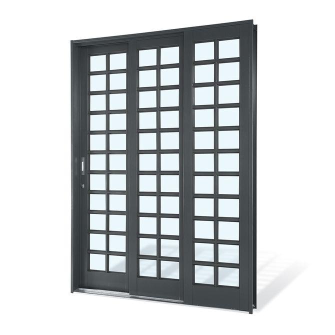 Porta-de-Aco-de-Correr-Silenfort-Quadriculada-3-Folhas-Abertura-Direita-217x150x14---Sasazaki