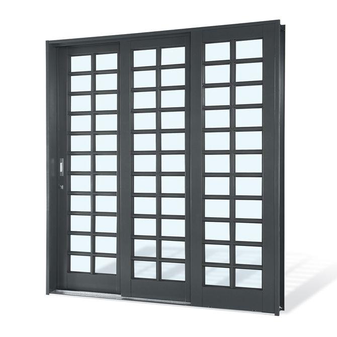 Porta-de-Aco-de-Correr-Silenfort-Quadriculada-3-Folhas-Abertura-Direita-217x200x14---Sasazaki