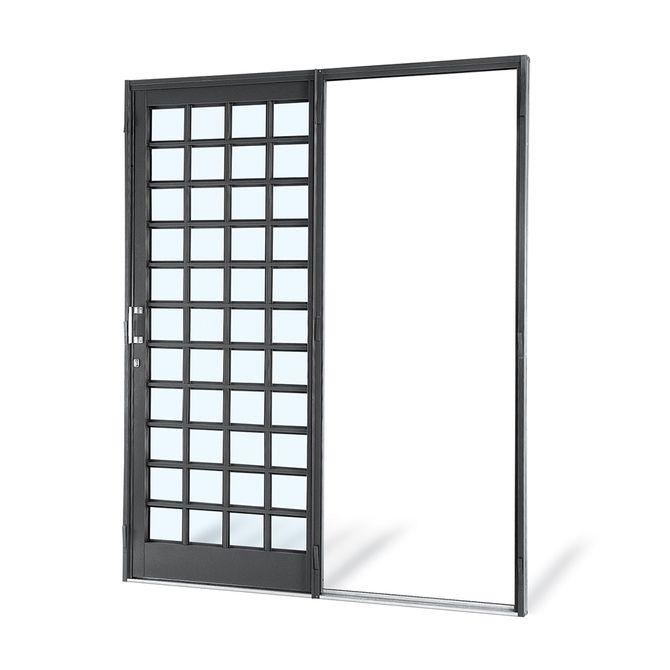 Porta-de-Aco-de-Correr-Silenfort-Quadriculada-Lateral-Parede-1-Folha-Abertura-Direita-217x180x7---Sasazaki