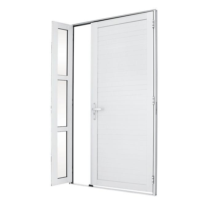 Porta-de-Aluminio-de-Abrir-Alumifort-Branca-com-Lambri-Horizontal-com-Seteira-1-Folha-Abertura-Esquerda-216x120x54---Sasazaki