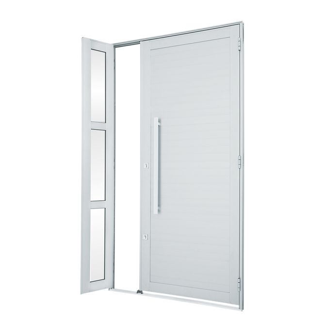 Porta-de-Aluminio-de-Abrir-Alumifort-Branca-com-Lambri-Horizontal-com-Seteira-com-Puxador-1-Folha-Abertura-Esquerda-216x120x54---Sasazaki