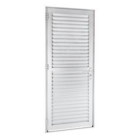 Porta-de-Aluminio-de-Abrir-Veneziana-Alumifort-Branca-1-Folha-Abertura-Direita-216x78x54---Sasazaki